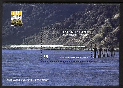 St Vincent - Union Island 2004 Steam Bicentenary perf m/sheet unmounted mint