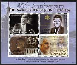 Sierra Leone 2006 90th Birth Anniversary of John F Kennedy perf hseetlet of 4 x 2000le unmounted mint, SG 4498a