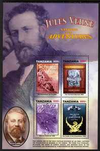 Tanzania 2005 Death Centenary of Jules Verne perf sheetlet 4 x 800s (The Archipelago of Fire etc) unmounted mint, SG MS2466a
