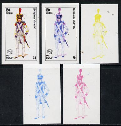 Iso - Sweden 1974 Centenary of UPU (Military Uniforms) 30 (33rd Regiment of Infantry 1807) set of 5 imperf progressive colour proofs comprising 3 individual colours (red, blue & yellow) plus 3 and all 4-colour composites unmounted mint