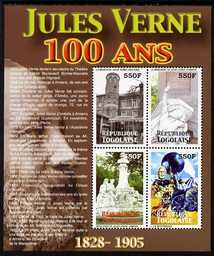 Togo 2005 Death Centenary of Jules Verne perf sheetlet of 4 x 550f (Jules Verne's House etc) unmounted mint. Note this item is privately produced and is offered purely on its thematic appeal