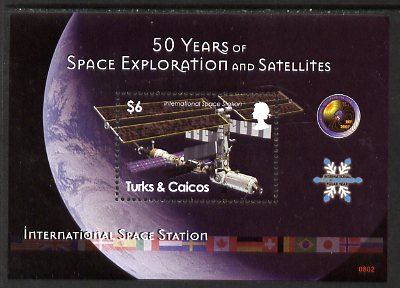 Turks & Caicos Islands 2008 50 Years of Space Exploration & Satellites perf m/sheet (International Space Station) unmounted mint, SG MS1899
