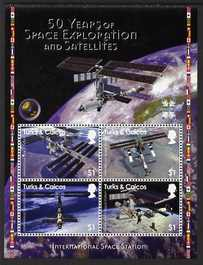 Turks & Caicos Islands 2008 50 Years of Space Exploration & Satellites perf sheetlet of 4 x $1 unmounted mint, SG 1895a