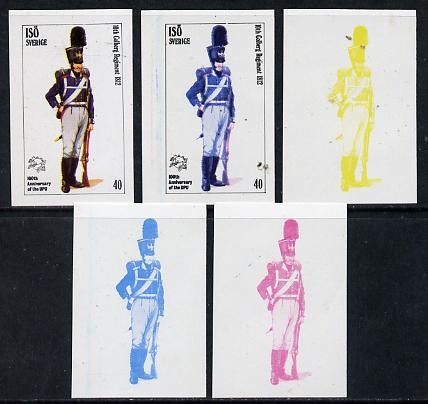 Iso - Sweden 1974 Centenary of UPU (Military Uniforms) 40 (10th Colberg Regiment 1812) set of 5 imperf progressive colour proofs comprising 3 individual colours (red, blue & yellow) plus 3 and all 4-colour composites unmounted mint