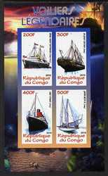 Congo 2010 Legendary Sailing Ships imperf sheetlet containing 4 values unmounted mint