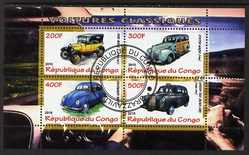Congo 2010 Classic Cars perf sheetlet containing 4 values fine cto used