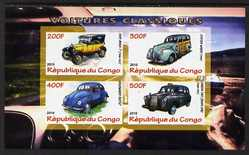 Congo 2010 Classic Cars imperf sheetlet containing 4 values unmounted mint