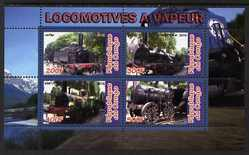 Congo 2010 Steam Locomotives perf sheetlet containing 4 values unmounted mint