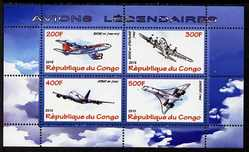 Congo 2010 Legendary Aircraft perf sheetlet containing 4 values unmounted mint