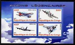 Congo 2010 Legendary Aircraft imperf sheetlet containing 4 values unmounted mint