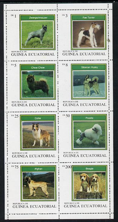Equatorial Guinea 1977 Dogs perf set of 8 unmounted mint (Mi 1129-36A)