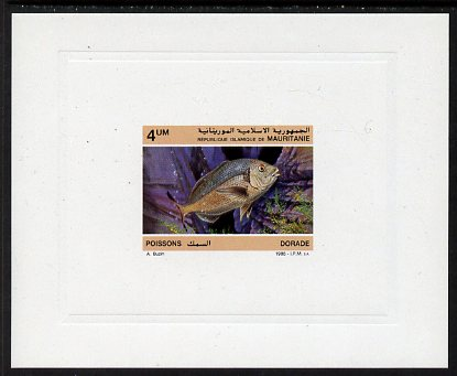 Mauritania 1986 Red Seabream 4um imperf deluxe sheet in issued colours on glazed sunken card unmounted mint Michel 899, as SG874