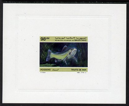 Mauritania 1986 Sea Trout 98um imperf deluxe sheet in issued colours on glazed sunken card unmounted mint Michel 900, as SG877