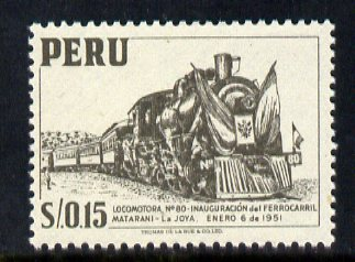 Peru 1951 Steam Locomotive 15c grey unmounted mint, SG 777