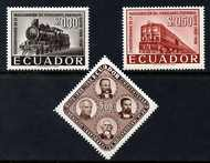 Ecuador 1958 Guayaquil-Quito Railway perf set of 3 unmounted mint, SG 1109-11