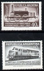 Argentine Republic 1957 Railway Centenary perf set of 2 unmounted mint, SG 907-8