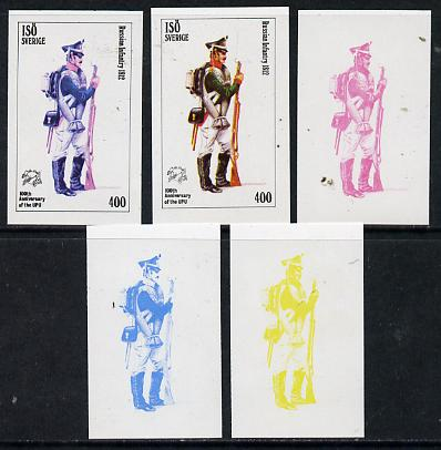 Iso - Sweden 1974 Centenary of UPU (Military Uniforms) 400 (Russian Infantry 1812) set of 5 imperf progressive colour proofs comprising 3 individual colours (red, blue & yellow) plus 3 and all 4-colour composites unmounted mint