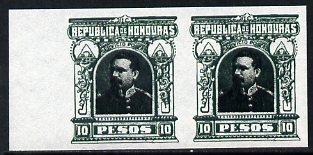 Honduras 1891 Pres Bogran 10p imperf pair being a 'Hialeah' forgery on gummed paper (as SG 69)