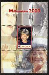 Angola 2000 Millennium 2000 - Princess Diana #1 perf s/sheet (with Scout logo & Members of the Royal Family in background) unmounted mint. Note this item is privately produced and is offered purely on its thematic appeal