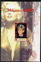 Angola 2000 Millennium 2000 - Princess Diana #3 imperf s/sheet (with Scout logo & Marilyn Monroe in background) unmounted mint. Note this item is privately produced and i...