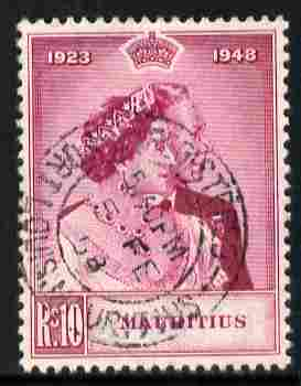 Mauritius 1948 KG6 Royal Silver Wedding 10r magenta fine used with cds cancel SG 271