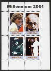 Angola 2001 Millennium series - Princess Diana, Einstein, Baden Powell & Pope perf sheetlet of 4 values unmounted mint. Note this item is privately produced and is offere...