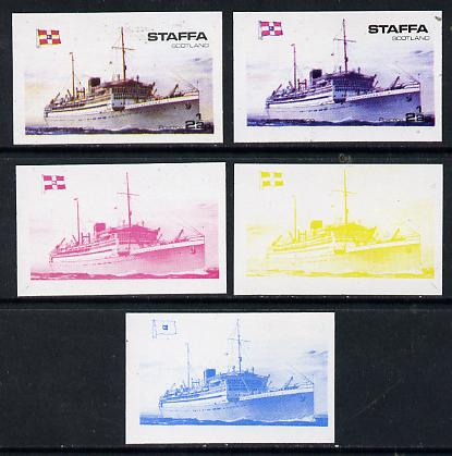 Staffa 1974 Steam Liners 2.5p (MV Baloeran 1929) set of 5 imperf progressive colour proofs comprising 3 individual colours (red, blue & yellow) plus 3 and all 4-colour composites unmounted mint