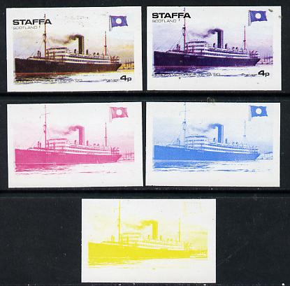 Staffa 1974 Steam Liners 4p (SS Reina Victoria-Eugenia 1913) set of 5 imperf progressive colour proofs comprising 3 individual colours (red, blue & yellow) plus 3 and all 4-colour composites unmounted mint