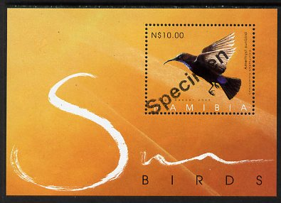 Namibia 2005 Sunbirds perf m/sheet overprinted SPECIMEN, unmounted mint as SG MS989
