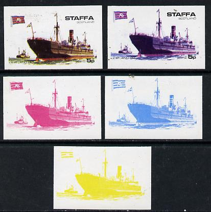 Staffa 1974 Steam Liners 5p (SS Atland 1910) set of 5 imperf progressive colour proofs comprising 3 individual colours (red, blue & yellow) plus 3 and all 4-colour composites unmounted mint
