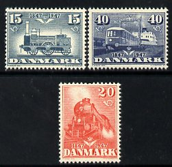 Denmark 1947 Railway Centenary set of 3 unmounted mint SG 353-5