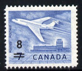 Canada 1964 Surcharged 8c on 7c Douglas DC-9 unmounted mint SG 556