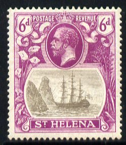 St Helena 1922-37 KG5 Badge Script 6d single with variety 'Zig-zag flaw in water behind stern' (stamp 18) mounted mint SG 104var