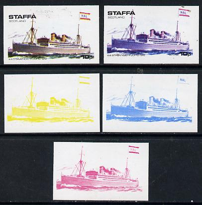 Staffa 1974 Steam Liners 10p (SS Stavangerfjord 1918) set of 5 imperf progressive colour proofs comprising 3 individual colours (red, blue & yellow) plus 3 and all 4-colour composites unmounted mint