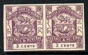 North Borneo 1888 Arms 3c violet horiz imperf pair unmounted mint SG 39b