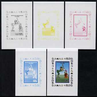 Congo 2008 Disney Beijing Olympics individual deluxe sheet (Clarabelle playing Baseball) - the set of 5 imperf progressive proofs comprising the 4 individual colours plus all 4-colour composite, unmounted mint
