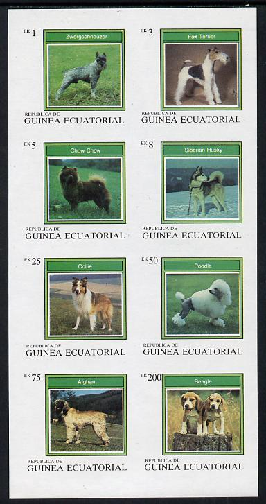 Equatorial Guinea 1977 Dogs imperf set of 8 unmounted mint (Mi 1129-36B)