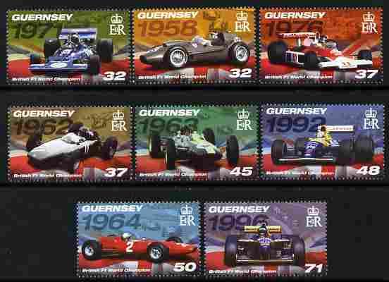 Guernsey 2007 British Formula 1 World Champions perf set of 8 unmounted mint SG 1165-72