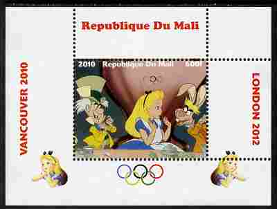 Mali 2010 Alice in Wonderland with Olympic Rings individual perf deluxe sheet #1 unmounted mint. Note this item is privately produced and is offered purely on its thematic appeal