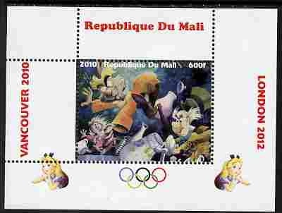 Mali 2010 Alice in Wonderland with Olympic Rings individual perf deluxe sheet #2 unmounted mint. Note this item is privately produced and is offered purely on its thematic appeal