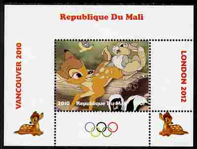 Mali 2010 Bambi with Olympic Rings individual perf deluxe sheet #4 unmounted mint. Note this item is privately produced and is offered purely on its thematic appeal, stamps on olympics, stamps on disney, stamps on films, stamps on cinena, stamps on movies, stamps on deer