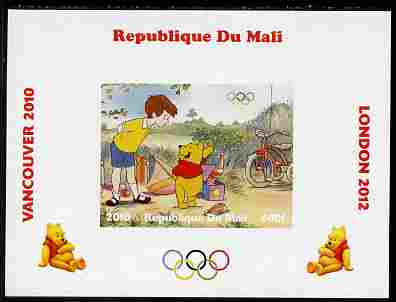 Mali 2010 Winnie the Pooh with Olympic Rings individual imperf deluxe sheet #1 unmounted mint. Note this item is privately produced and is offered purely on its thematic appeal