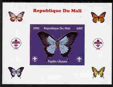Mali 2010 Butterflies & Scouts individual imperf deluxe sheet #2 unmounted mint. Note this item is privately produced and is offered purely on its thematic appeal