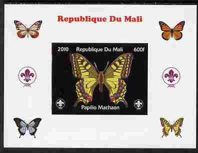 Mali 2010 Butterflies & Scouts individual imperf deluxe sheet #3 unmounted mint. Note this item is privately produced and is offered purely on its thematic appeal