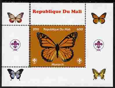 Mali 2010 Butterflies & Scouts individual perf deluxe sheet #1 with double perforations at left unmounted mint. Note this item is privately produced and is offered purely on its thematic appeal