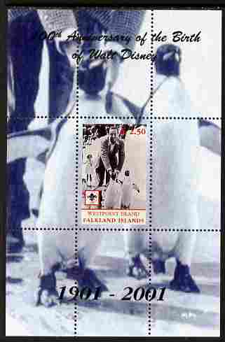 Westpoint Island (Falkland Islands) 2001 Birth Centenary of Walt Disney perf s/sheet (with Penguins & Scout Logo) unmounted mint. Note this item is privately produced and...