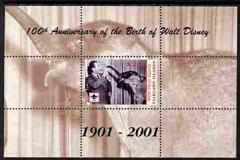 West Swan Island (Falkland Islands) 2001 Birth Centenary of Walt Disney perf s/sheet (with Baby Elephant & Scout Logo) unmounted mint. Note this item is privately produced and is offered purely on its thematic appeal, it has no postal validity