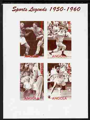 Angola 2000 Sports Legends 1950-1960 imperf sheetlet containing 4 values (Boxing, Baseball, Golf & Tennis) unmounted mint. Note this item is privately produced and is off...