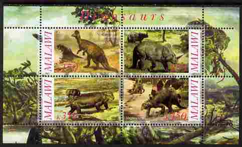 Malawi 2010 Dinosaurs #01 perf sheetlet containing 4 values unmounted mint