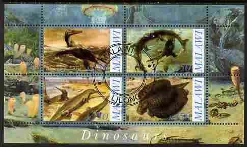 Malawi 2010 Dinosaurs #02 perf sheetlet containing 4 values fine cto used